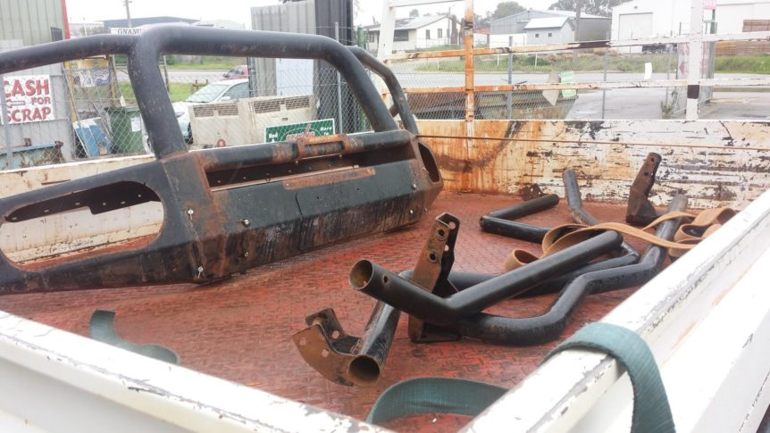 Rusted Ute Tray & Bars prior to blasting and protective coatings