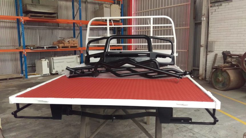 Ute Tray and bars after blasting and protective coatings