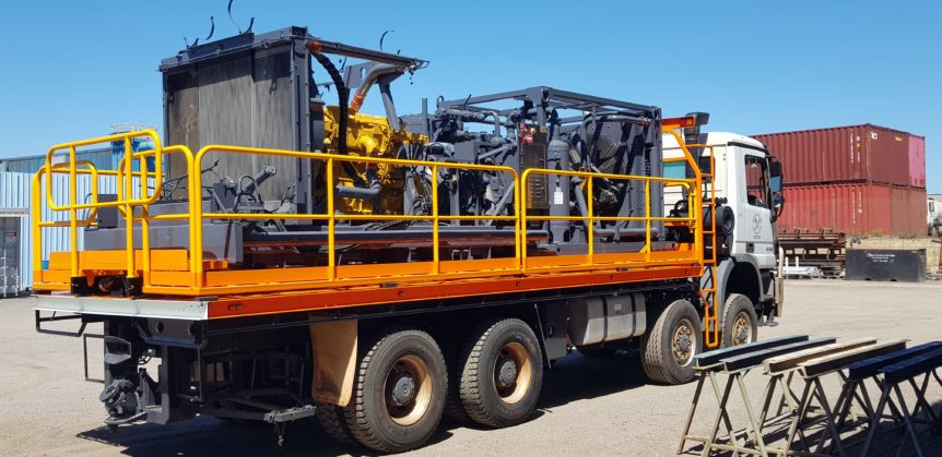 Bostech truck after blasting & priming & protective coating at Absolute Blast in Landsdale