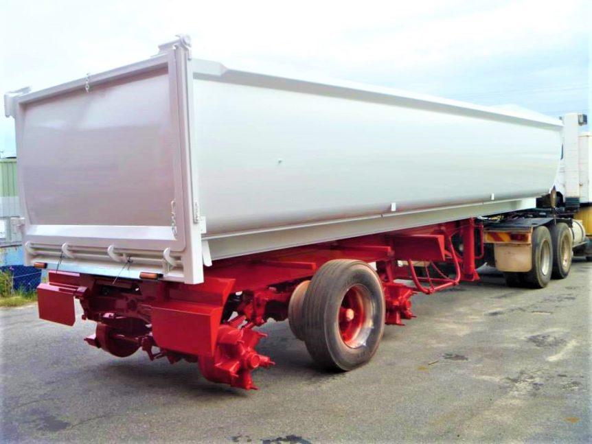 truck body after protective coating in red & white