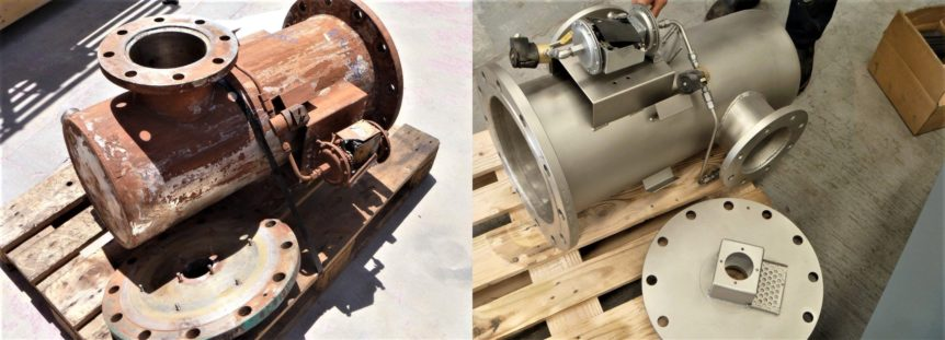 Equipment Before and after abrasive blasting & protective coating